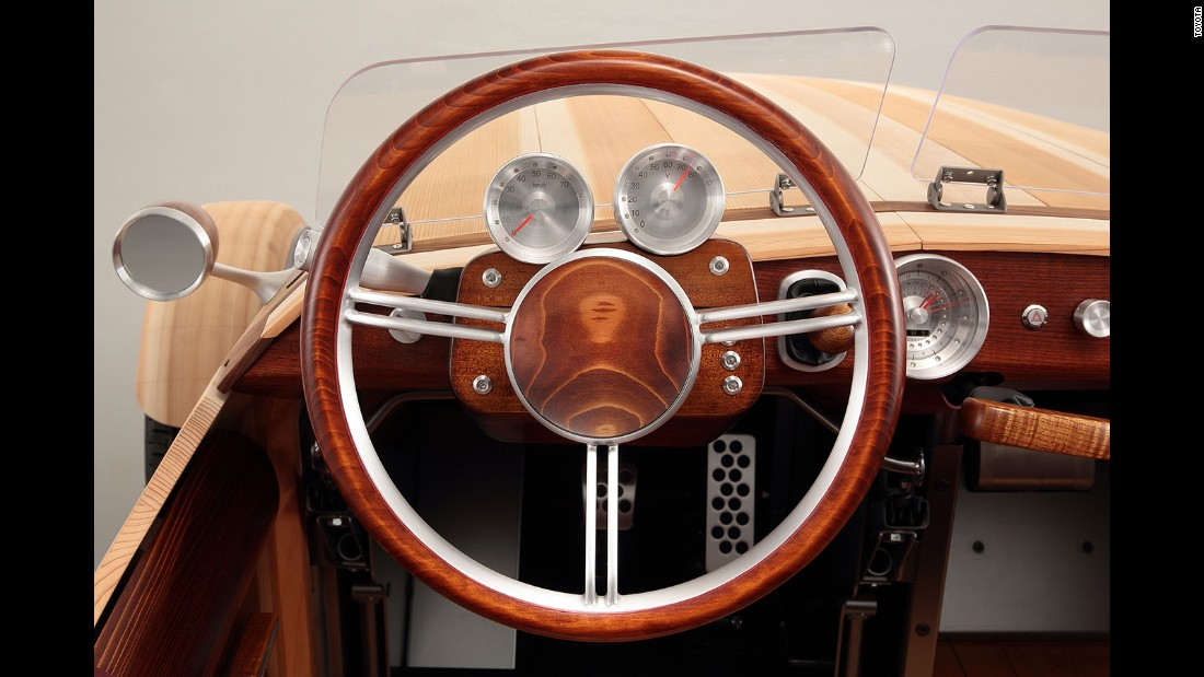 The designers also used aluminum on the wheel caps, seat frames and steering wheel.