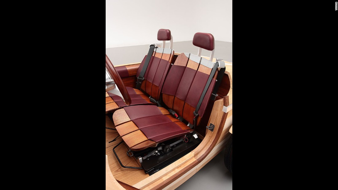 The interior of the car is also composed primarily of wood, but it features leather finishes at some parts for comfort.