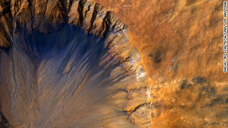 "This impact crater appears relatively recent as it has a sharp rim and well-preserved ejecta.  The steep inner slopes are carved by gullies and include possible recurring slope lineae on the equator-facing slopes. Fresh craters often have steep, active slopes, so we are monitoring this crater for changes over time.  The bedrock lithology is also diverse. The crater is a little more than 1-kilometer wide.  Note: When we say ""fresh,"" we mean on a geological scale. The crater is quite old on a human scale.  The University of Arizona, Tucson, operates HiRISE, which was built by Ball Aerospace & Technologies Corp., Boulder, Colorado. NASA's Jet Propulsion Laboratory, a division of the California Institute of Technology in Pasadena, manages the Mars Reconnaissance Orbiter Project and Mars Science Laboratory Project for NASA's Science Mission Directorate, Washington.  NASA/JPL-Caltech/Univ. of Arizona"