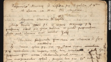 Isaac Newton's recently discovered manuscript is his handwritten copy of a procedure for a substance seen as a main ingredient for the philosopher's stone.