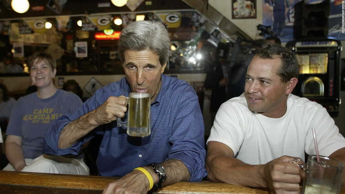 Democratic presidential candidate John Kerry drinks a beer in Mt. Horeb, Wisconsin, in September 2004.