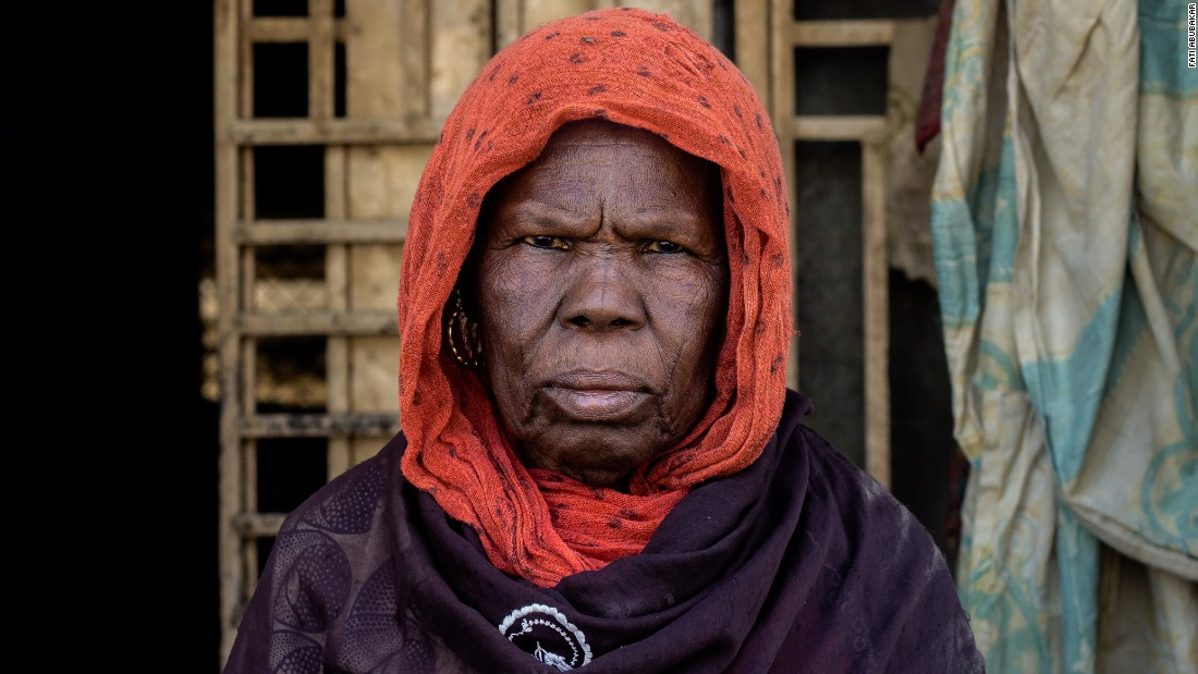 """Myself, my sons, their wives, and their children ran to Maiduguri. It's 16 of us in four rooms. We've left everything behind. We don't have money anymore. Not even food. I want my sons to find jobs so the family can survive."""
