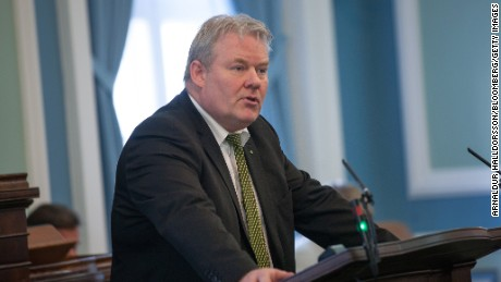 Sigurdur Ingi Johannsson, Iceland's new prime minister, speaks at the Parliament in Reykjavik, Iceland, on Thursday.