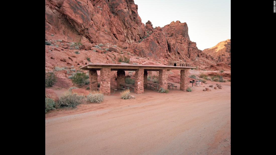 "This is a roadside rest stop on the Valley of Fire Highway, which runs through a Nevada state park. Ryann Ford has photographed 400 rest stops across 19 states. Many of them are in her new book, ""The Last Stop."""
