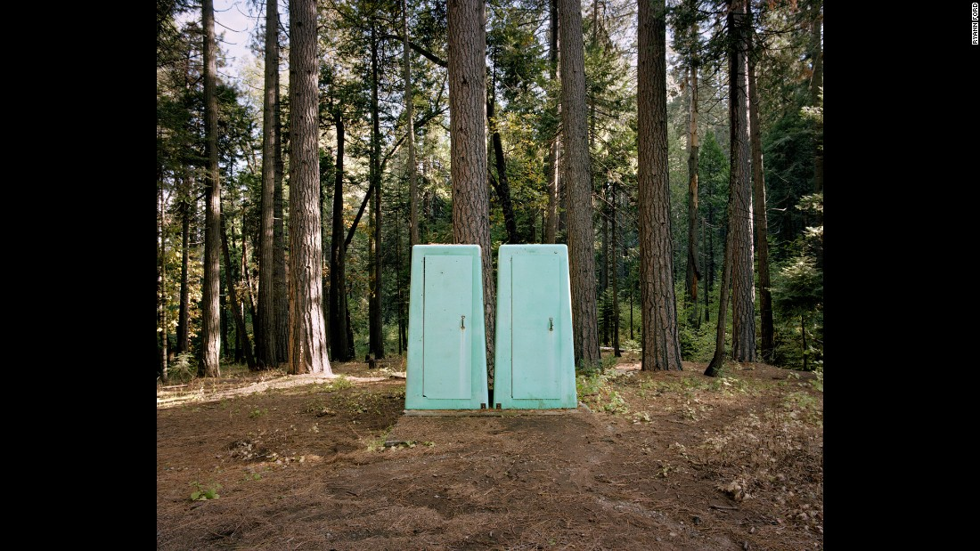 These portable bathrooms are off Highway 41 in Fish Camp, California.