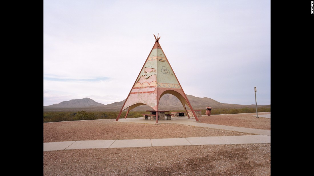 A teepee-like structure off Interstate 10 in Sierra Blanca, Texas.