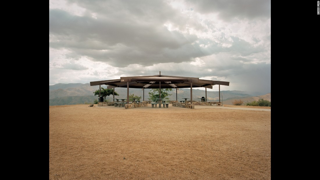 """I've always been a minimalist, and when you see these little tables set down on the landscape, they're so photogenic,"" Ford said. This stop is off Interstate 17 in Black Canyon City, Arizona."