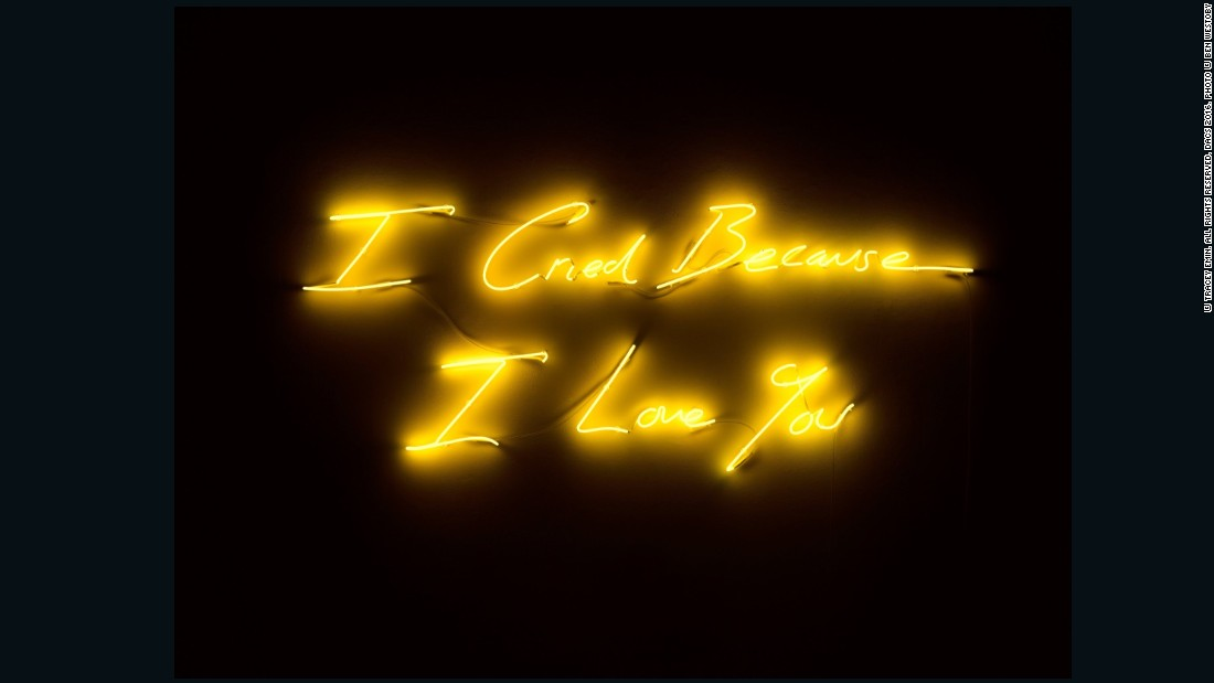 Tracey Emin, <em>I Cried Because I Love You</em>, 2016, Neon, 32 1/16 x 78 15/16 x 1 7/8 in. (81.5 x 200.5 x 4.8 cm), courtesy of Lehmann Maupin and White Cube