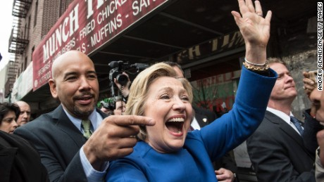 Democratic presidential candidate Hillary Clinton campaigns with borough President Ruben Diaz Jr. on April 7, 2016 in the Bronx borough of New York City.