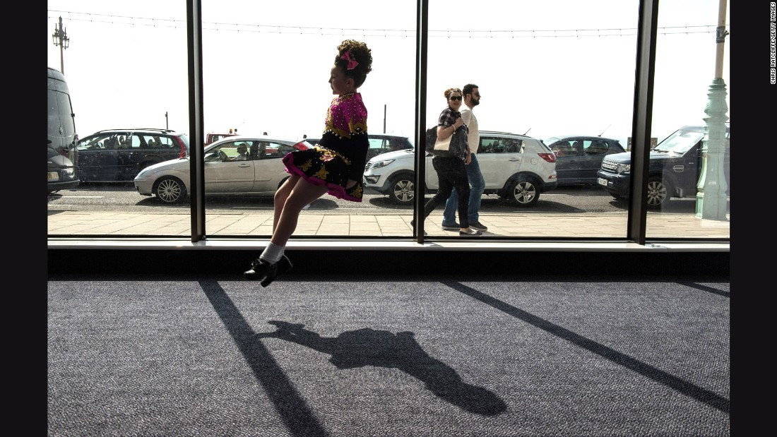 A girl practices in a hallway during the World Irish Dance Championships, which continued in Brighton, England, on Saturday, April 2.