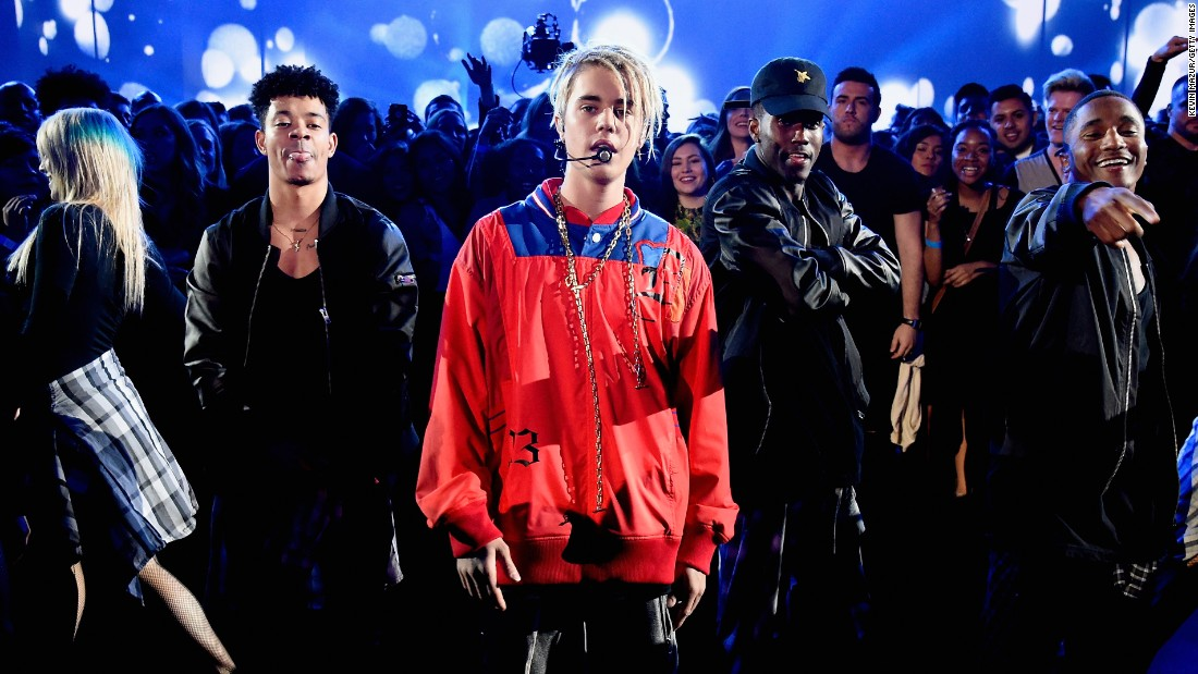 Singer Justin Bieber performs at the iHeartRadio Music Awards on Sunday, April 3.