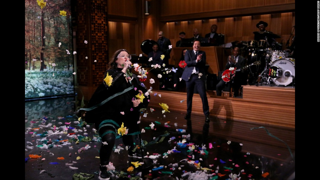 "Actress Melissa McCarthy participates in a ""lip-synch battle"" with ""Tonight Show"" host Jimmy Fallon on Monday, April 4."