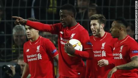 Liverpool's Belgian striker Divock Origi celebrates scoring against Borussia Dortmund in their Europa League quarterfinal first leg tie.