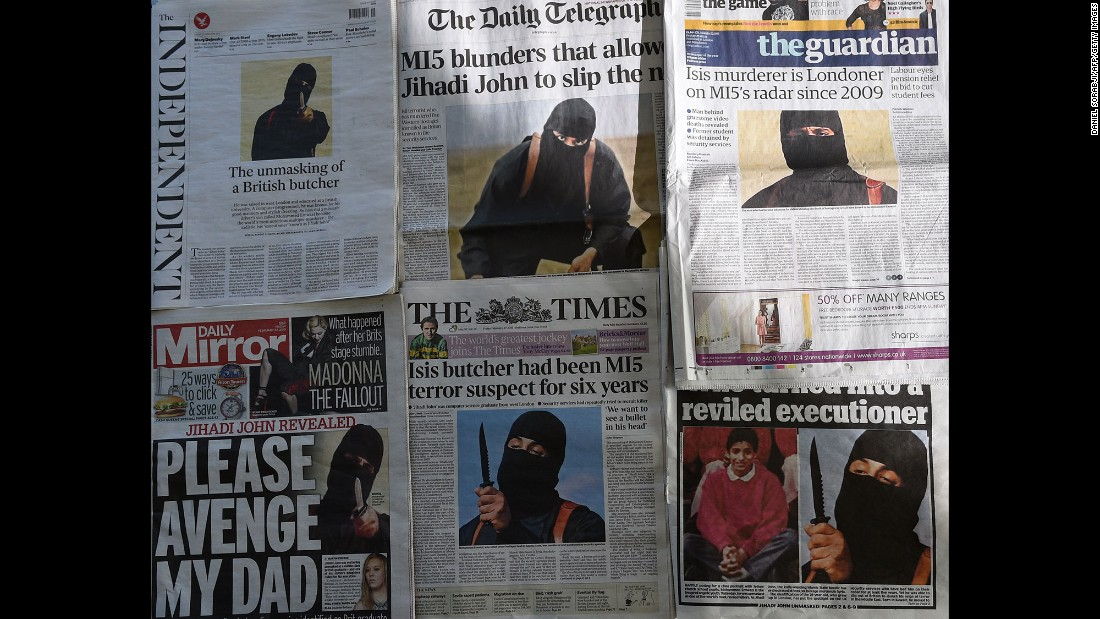 "In February 2015, British newspapers report the identity of ""Jihadi John,"" the disguised man with a British accent who had appeared in ISIS videos executing Western hostages. The militant was identified as Mohammed Emwazi, a Kuwaiti-born Londoner. On November 12, 2015, the Pentagon announced that Emwazi was in a vehicle <a href=""http://www.cnn.com/2015/11/13/middleeast/jihadi-john-airstrike-target/"" target=""_blank"">hit by a drone strike.</a> ISIS later confirmed his death."