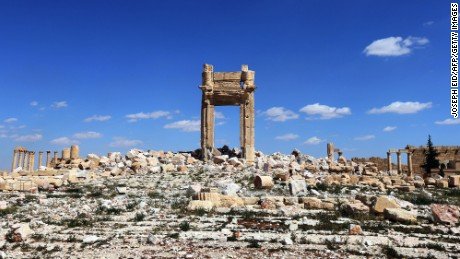The remains of the Temple of Bel are seen in Palmyra, Syria, March 31, 2016. The UNESCO World Heritage site was taken over by ISIS in 2015. After the takeover, the jihadists destroyed several ancient sites dating back 2,000 years.