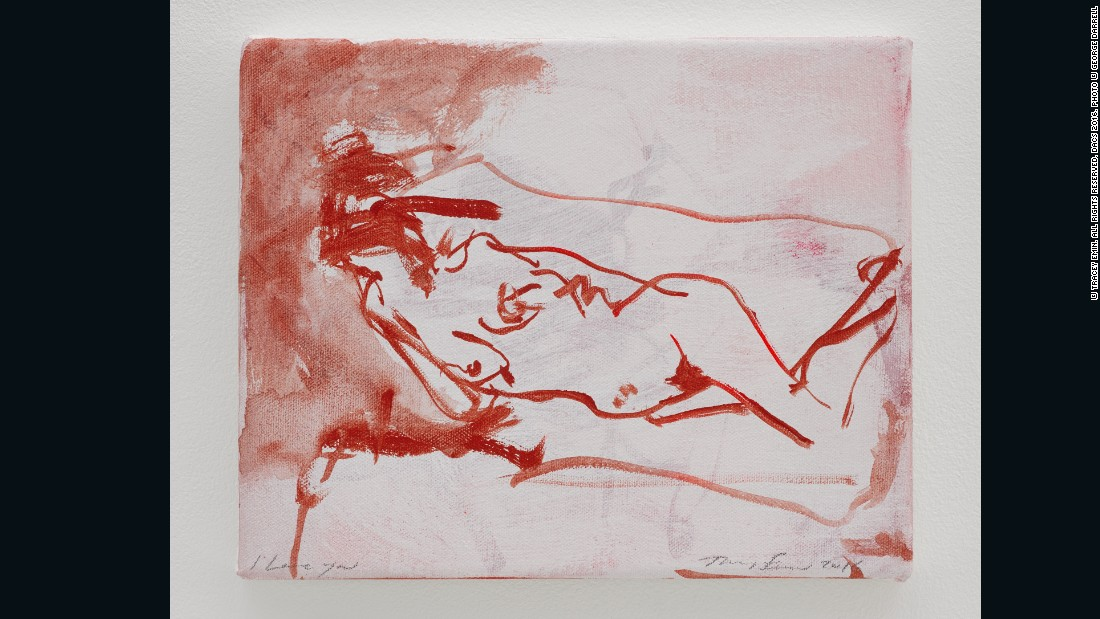 Tracey Emin, <em>I love you</em>, 2015, Acrylic on canvas, 8 1/8 x 10 1/16 in. (20.6 x 25.5 cm), Courtesy of Lehmann Maupin and White Cube
