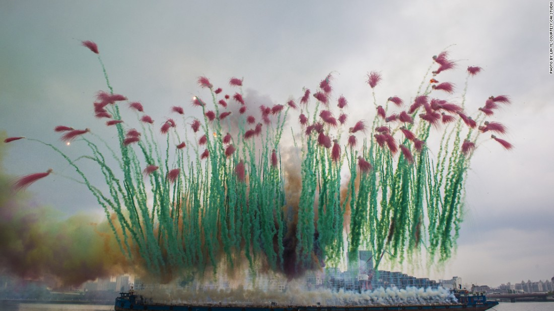 """""""Elegy: Explosion Event for the Opening of Cai Guo-Qiang: The Ninth Wave"""", Shanghai, 2014."""