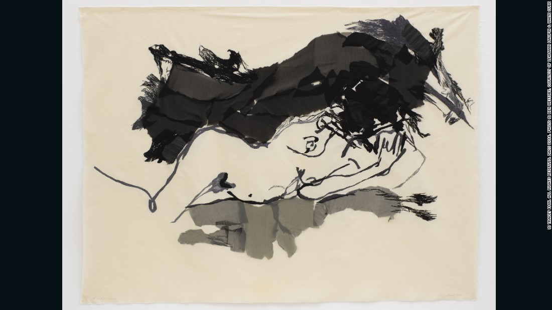 Tracey Emin, <em>I want you so much, </em>2015, embroidered calico, 63.78 x 86.61 inches (fabric) 162 x 220 cm, courtesy of Lehmann Maupin and White Cube <br />