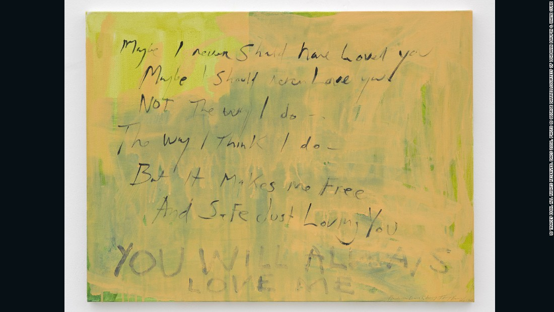 Tracey Emin, <em>Another love story, </em>2011 - 2015, acrylic on canvas, 23.82 x 31.5 inches (canvas 60.5 x 80 cm, courtesy of Lehmann Maupin and White Cube<br />