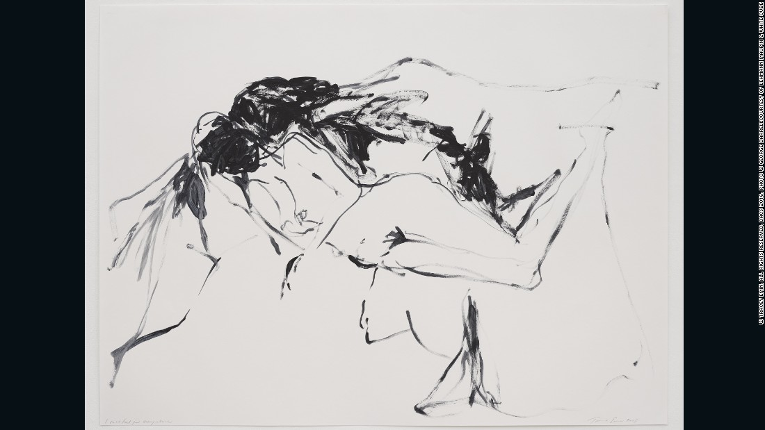 Tracey Emin, <em>I can feel you everywhere, </em>2015, acrylic on paper, 39.96 x 53.94 inches (paper), 101.5 x 137 cm, courtesy of Lehmann Maupin and White Cube <br />