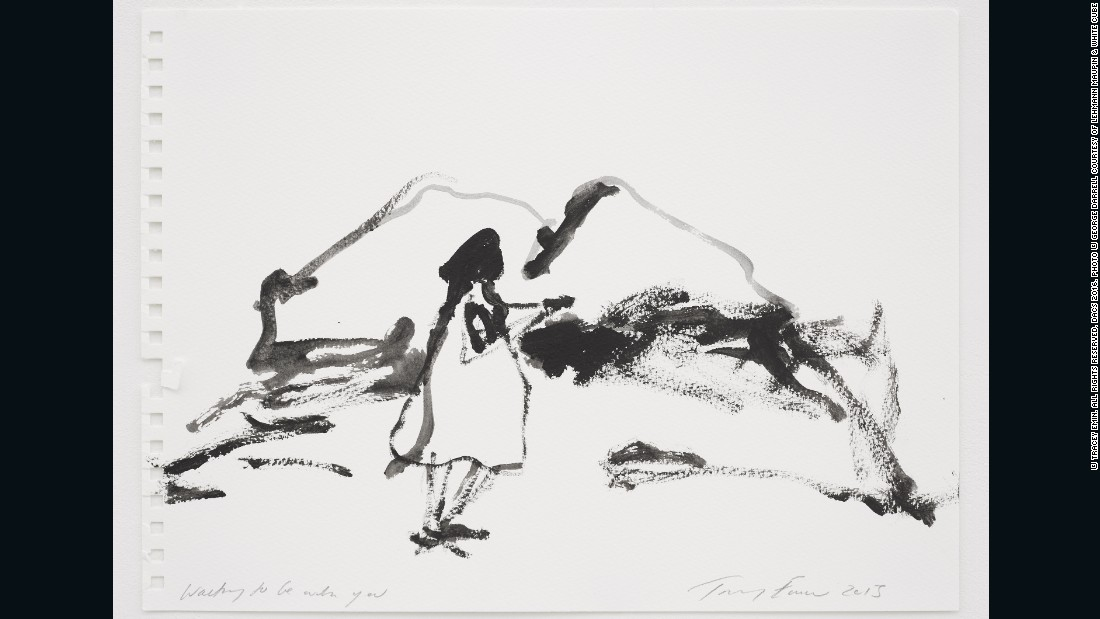 Tracey Emin, <em>Wanting to be with you, </em>2015, gouache on paper, 11.02 x 14.96 inches (paper) 28 x 38 cm, courtesy of Lehmann Maupin and White Cube <br />