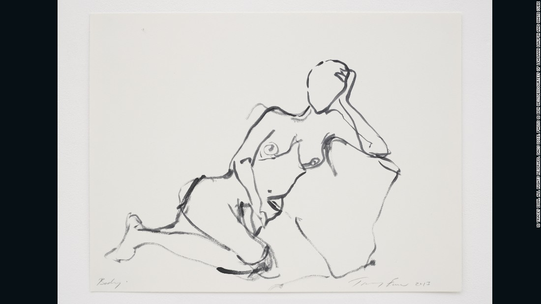 Tracey Emin, <em>Body</em>, 2015, Gouache on paper, 12 x 16 in. (30.5 x 40.6 cm), courtesy of Lehmann Maupin and White Cube<br />