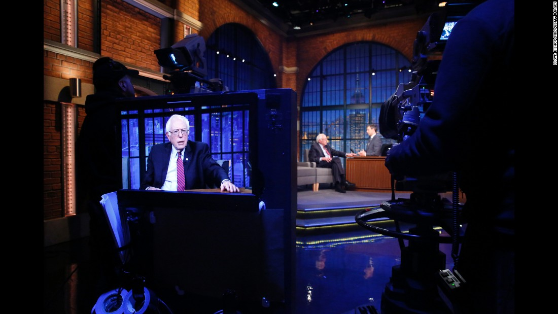 "Presidential candidate Bernie Sanders is interviewed by ""Late Night"" host Seth Meyers on Thursday, April 7."