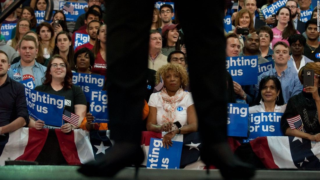 Hillary Clinton speaks at a campaign rally in Pittsburgh on Wednesday, April 6.