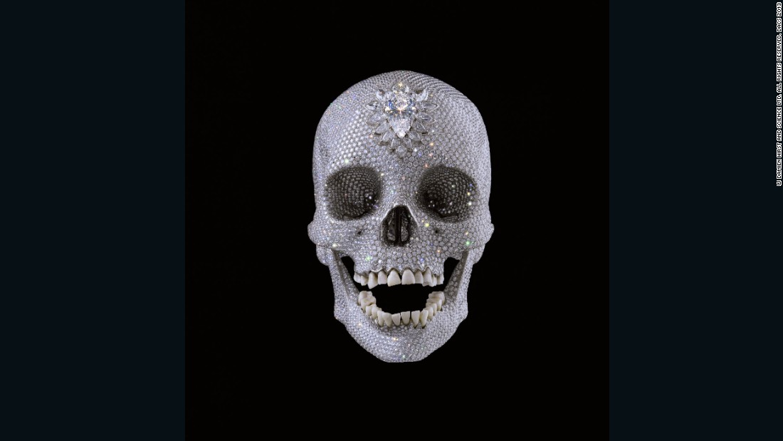 Damien Hirst, For the Love of God, 2007, Platinum, diamonds and human teeth, 6.75 x 5 x 7.5 in (171 x 127 x 190 mm)