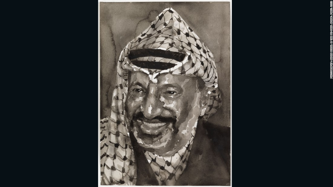 Yasser Arafat, 2012, watercolor on paper, 51 x 36 cm