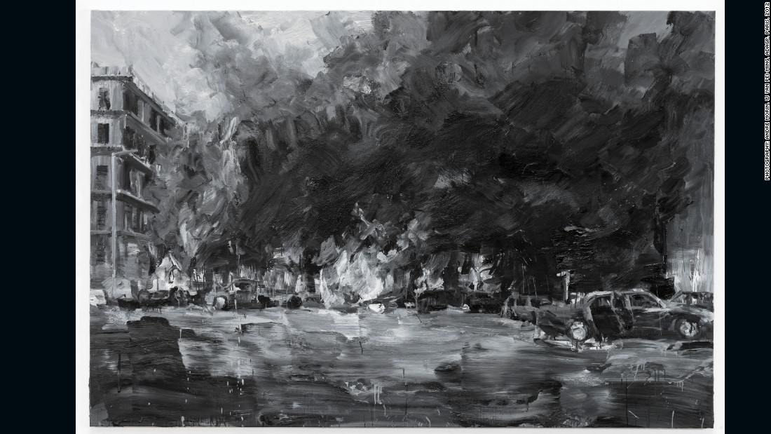 YAN Pei-Ming, Rafic Hariri (14 February 2005, Beirut), 2012, oil on canvas, 200 x 300 cm