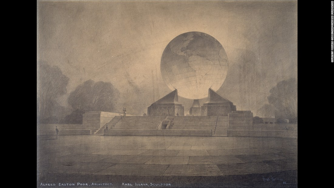 "Little is known about Poor and Illava's concept for a Second World War memorial -- Nadja Bartels, director of the Tchoban Foundation admits as much. The Foundation, which exhibited this concept drawing by Hugh Ferriss at its show ""American Perspectives"" in 2015, speculated that it could have been envisioned for Central Park, New York, Bartels arguing the monolithic design invokes Boullee's concept for Newton's Cenotaph. Sketched by Ferriss, a trained architect who moved into drawing buildings rather than designing them, the monument would have been the second of Illava's in Central Park -- his memorial to the 107th Infantry was completed in 1927."