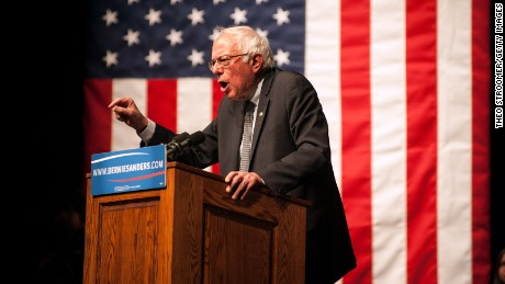 Bernie Sanders (D-VT) speaks during a rally on April 5, 2016 in Laramie, Wyoming.