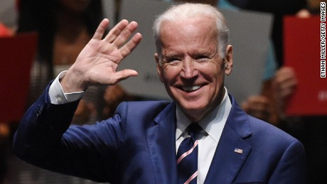 Vice President Joe Biden waves before speaking to students as part of the national It's On Us Week of Action at the Cox Pavilion at UNLV on April 7, 2016 in Las Vegas, Nevada.