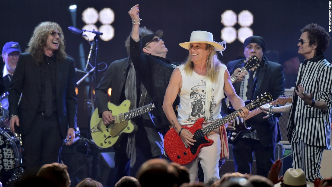 "Inductee Robin Zander of Cheap Trick performs at the 31st Rock And Roll Hall Of Fame induction ceremony on Friday, April 8, in New York City. When Cheap Trick cut its first album in 1977, it established a signature sound, the Hall of Fame said. ""It has never changed it much. It didn't need to."""