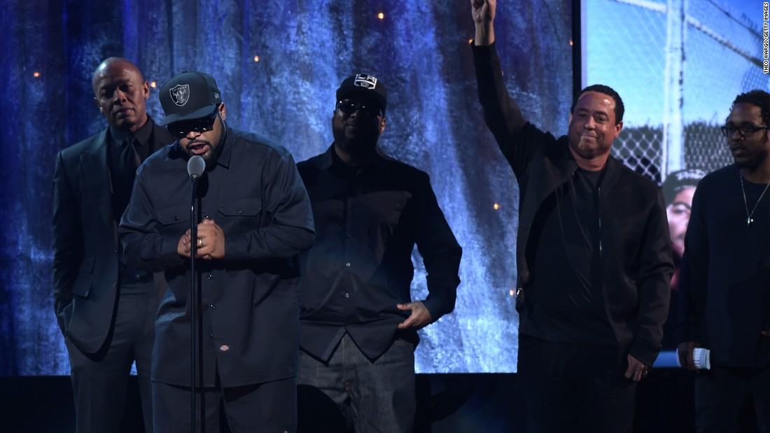 Ice Cube speaks during N.W.A.'s induction. They're visionaries who broke down barriers in society to let the rest of the world in on the harsh confinement of street life in America's forgotten corners, like Compton.
