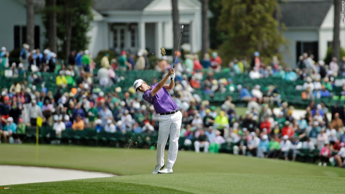 Smylie Kaufman hits from the first fairway during the final round. Kaufman, playing in the Masters for the first time in his career, started the day in second place.