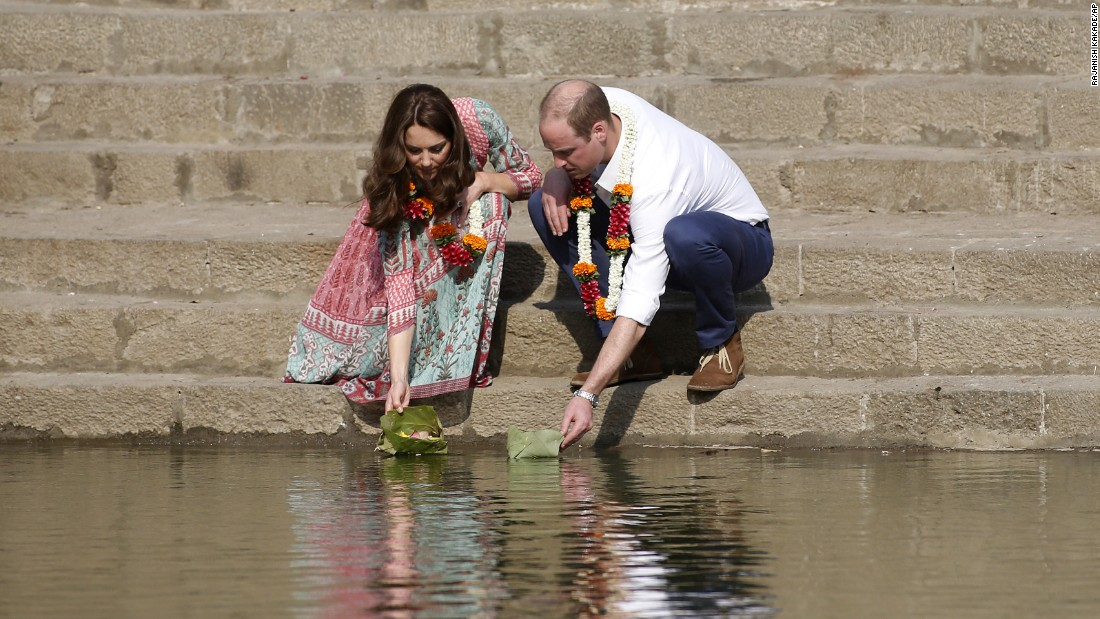 The royal couple floats flowers at the Banganga Water Tank in Mumbai on April 10.