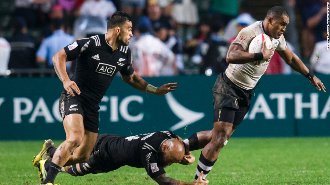 Isake Katonibau of Fiji is tackled during Sunday's final against New Zealand.