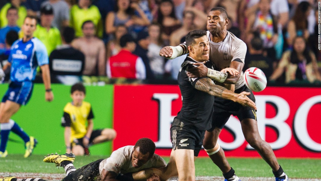 New Zealand's World Cup winning star Sonny Bill Williams was kept well shackled by the Fijian defense in the final.