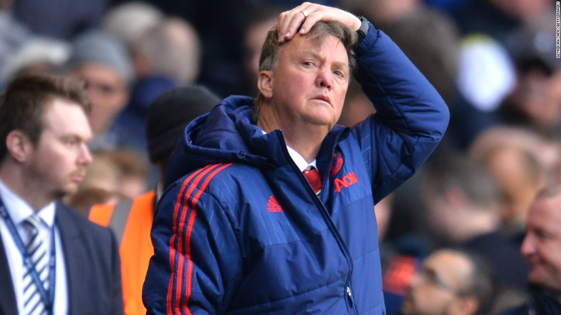 Manchester United's Dutch manager Louis van Gaal cuts a forlorn figure as his side slips to defeat at White Hart Lane.