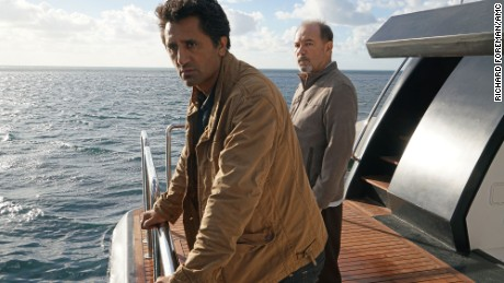"Cliff Curtis as Travis and Ruben Blades as Daniel Salazar in season 2 of AMC's ""Fear the Walking Dead."""