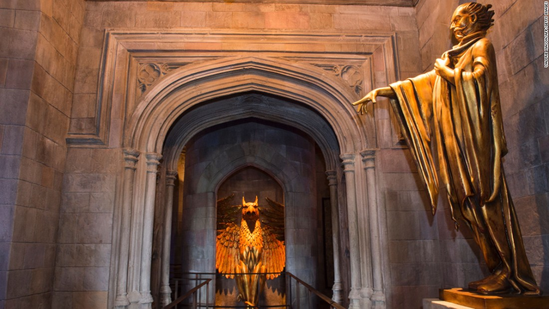 The gargoyle guarding the headmaster's office at Hogwarts will likely make Dumbledore fans a little  nostalgic for the books and films.