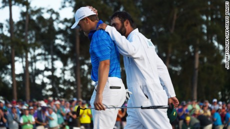 Spieth and caddy Michael Greller went through a torrid afternoon at Augusta.