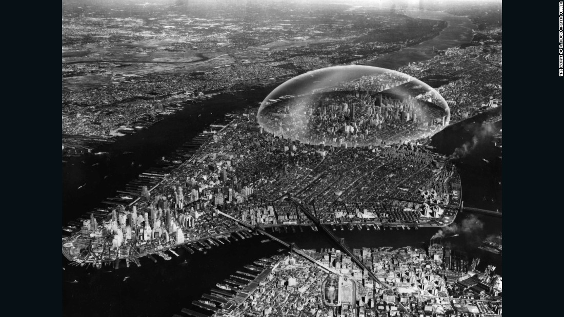 "A two mile-wide geodesic dome over Midtown Manhattan doesn't sound like the most practical way to reduce air pollution and regulate weather, but Buckminster Fuller and Sandao once went to great lengths mapping out plans for one in 1960. Spanning the East River to the Hudson and covering 62nd Street to 22nd Street, they planned for it to be built from shatterproof glass, mist-plated with aluminum to reduce glare from the sun. Weighing 4,000 tonnes, Fuller argued that the structure, built by a fleet of helicopters fitting each glass plate, would cost $200 million and be invisible to the naked eye for those inside. There were potential problems for the dome, however: Fuller stipulated that cars or engines of any kind were to be banned. Oh, and there was the chance the dome might float away. It's been argued that, because the dome's weight was comparable to that of the air beneath it, it could<a href=""http://www.nous.org.uk/Manhattan.html"" target=""_blank""> float in hot weather</a>, and would have to be anchored in place with cables. Surprisingly, the idea never took off."