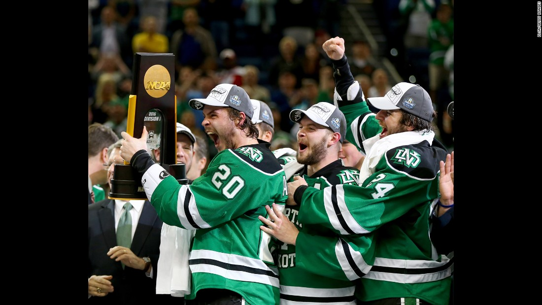 North Dakota's hockey team celebrates after winning the NCAA championship on Saturday, April 9. It's the eighth national title for the Fighting Hawks, who defeated Quinnipiac 5-1 in the final.