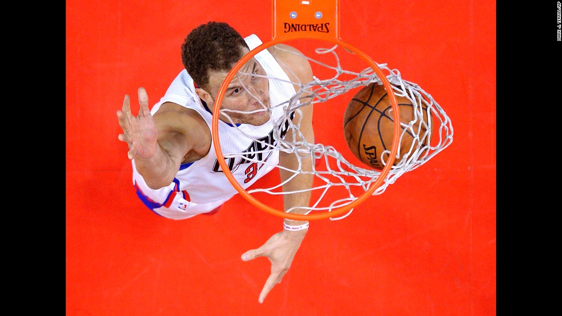 Blake Griffin dunks the ball during an NBA game in Los Angeles on Sunday, April 10.