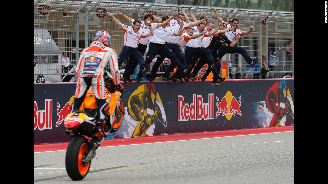MotoGP rider Marc Marquez celebrates with his team in Austin, Texas, after winning the Grand Prix of the Americas on Sunday, April 10.