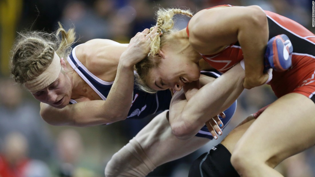 Katherine Fulp-Allen, left, wrestles Helen Maroulis during the U.S. Olympic Trials on Sunday, April 10. Maroulis won their weight class and will try to earn an Olympic spot later this month.