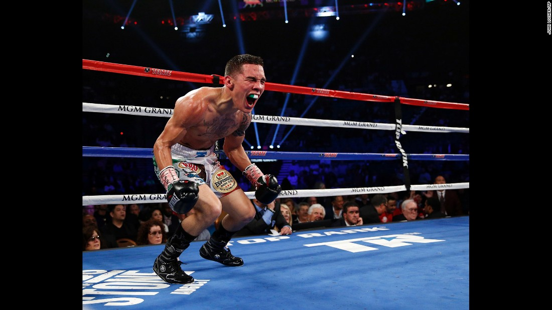 Oscar Valdez celebrates his fourth-round victory over Evgeny Gradovich on Saturday, April 9. Valdez improved his record to 19-0 with the win in Las Vegas.